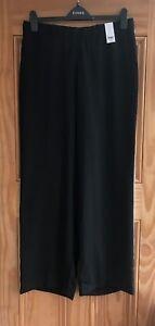 Ex Evans Black White Side Stripe Wide Leg Work Trousers Regular Plus Size 22 -24