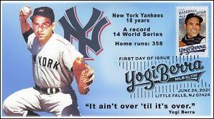 21-182, 2021, Yogi Berra, First Day Cover, Pictorial Postmark, Baseball, SC 5608