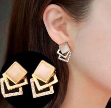 Pair Of Cute Yellow Gold Tone Squares Stud Earrings Ear Rings Cuff Stud ER20