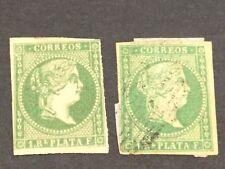 TWO 1856-71 ANTILLES SPAIN ESPAÑA. 1856.1r VERDE ESMERALDA- 1 mint, 1 used