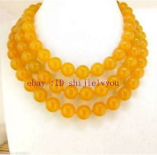 Natural 10mm Yellow Jade Round Gemstone Beads Knotted Necklace 36''