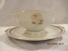 Vintage ROSENTHAL Rosenthal Rose Gravy Boat Germany with attached underplate