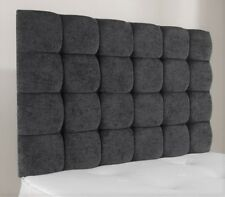"5ft King Size Pendle 36"" High Charcoal Chenille Deep Buttoned Headboard"