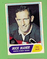 #D311. 1969  SCANLENS RUGBY LEAGUE CARD #36  MICK MAHER, NORTH SYDNEY BEARS