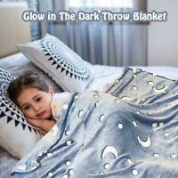 Blanket Stars Moon Bright Neon Grey Flannel Soft Warm Snuggle Blanket Throws