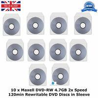 10 x Maxell DVD-RW Storage 4.7GB 2x Speed 120min Re-Writable DVD Discs in Sleeve