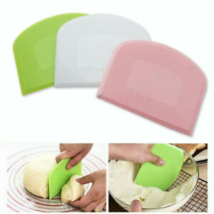 Cake Spatula Dough Cutter Plastic Cream Pastry Smooth Scraper Baking Slicer Tool