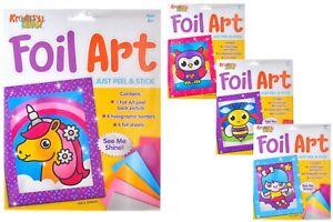 Foil Art Kits - 4 Designs - Unicorn / Fairy / Owl / Bumble Bee - Craft Play Set