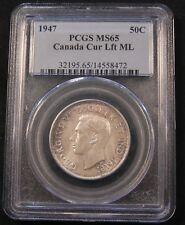 1947ML Canada Silver 50 Cents PCGS MS65 GEM. Pop 4/1. Maple Leaf type. Scarce