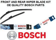 Chevrolet Tacuma Front + Rear Windscreen Wiper Blade Set 05 to 09 BOSCH AEROTWIN