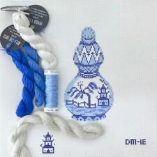 Plum Stitchery hand painted needlepoint canvas Kit Blue White jar ornament asian