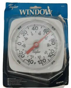 Taylor Window Thermometer No 5310 Bright Dial Fahrenheit Celsius Temperature F C