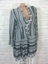 Hippie Blogger Hängerchen Kleid Tunika Volant Print 36 38 40 42 Grau K189 NEU