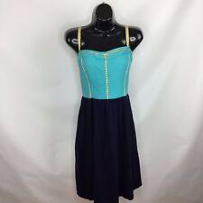 Anthropologie LILKA Dress Sz Large L Blue Green Spaghetti Strape Beach Vacation