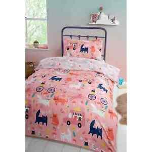 Kids Fantasy Single Duvet Cover Bedding Set Supersoft Girls Cartoon Cats Colour