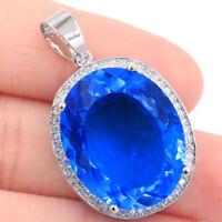 25x20mm Big Oval Gemstone 22x18mm Swiss Blue Topaz CZ Woman's Silver Pendant