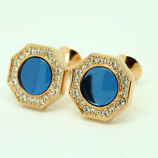 Rose Gold and Blue Cufflinks with Stones
