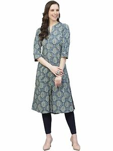 Indian Women Blue & Beige Printed Straight Kurta Kurti Top Tunic Ethinc Dress