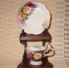 "Vintage Miniature CUP & SAUCER marked "" K "" Hand Painted FLORAL Japan GOLD TRIM"