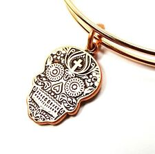ALEX and ANI Russian Rose Gold Calavera Bracelet w/Charms
