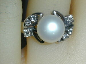 BEAUTIFUL~ LUC - LUCAS LAMETH STERLNG LARGE PEARL CZ RING- SIZE 5 1/2!