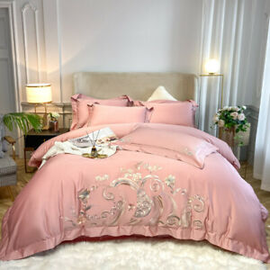 Bedding set 4pcs Silk & cotton embroidery bedding bag flat sheet 2 pillow shames
