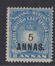 British East Africa 1894 QV 5a on 8a blue Mounted mint. SG 27. Sc 36