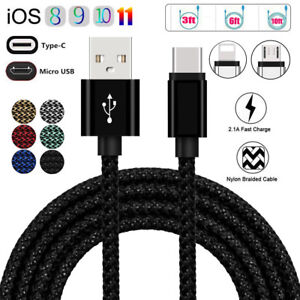 1M 2M 3M Braided Micro USB/Type-C/IOS Fast Charging Charger Data Sync Cable Cord