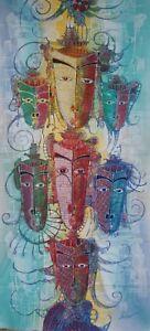Abstract Mask Painting Batik Art. 7 Masks Multi process