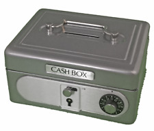 Silver Kid Mini Metal Cash box Safe coin box Treasure lock box Piggy bank SS986S