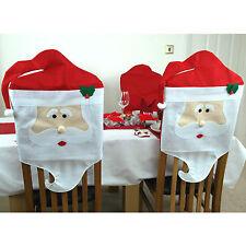 2 X Babbo Natale Sedia Da Pranzo copre BABBO NATALE DECORAZIONI DI NATALE FESTA PARTY