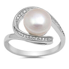 USA Seller Pearl Loop Ring Sterling Silver 925 Best Deal CZ Jewelry Size 9