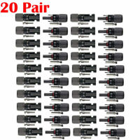 20 pairs M/F Male Female 30A Wire Cable Connector Set Solar Panel USA Ship
