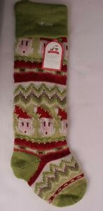 Pottery Barn Kids Fair Isle Christmas stocking, green Santa face *monogram Mom