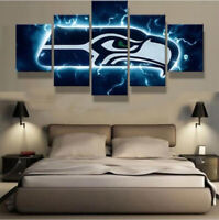 Seattle Seahawks Blue Nation 5 pcs Painting Printed Canvas Wall Art Home Decor