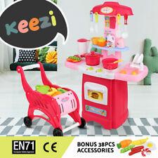 Keezi Kids Kitchen Toys Set Pretend Play Market Trolley Cooking Cookware Food