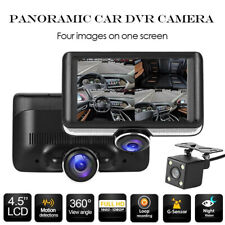 4.5in pantalla IPS 360 ° Lente Dual DVR Coche Grabadora Cámara en Tablero Cámara de espejo retrovisor
