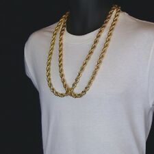 """Men's 24K Gold Plated Two 10mm 30"""" Thick Rope Chain Hip Hop Style Necklace Set"""