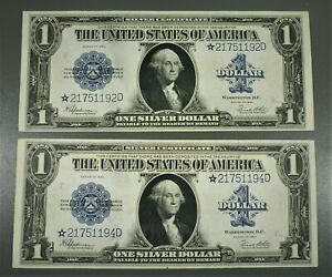 "2 1923 $1 STAR Silver Certificate ""Horseblankets"""