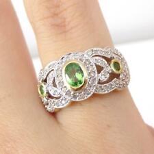 Green Tsavorite Garnet 0.40ctw Diamond Halo 14K Yellow Gold Ring Size 7.5 LHH2