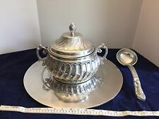 Pewter Soup Tureen Serving Tray & Ladle Extra Large Grapes Fabulous Pewterware