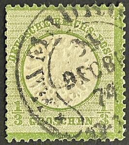 DR 1874 gest. 1/3 Gr. dunkelgrün gr. Schild, Mi.Nr. 17 b vom LETZTTAG mit Attest