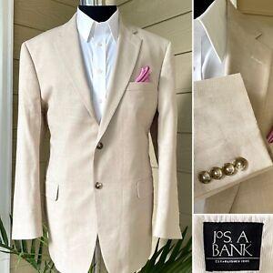 Jos A Bank 44R Men's Tan Cotton Blend Summer Blazer Sport Coat Jacket