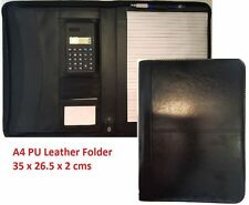 A4 Black Conference Folder Leather Portfolio Document Organiser With Calculator