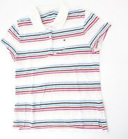 Tommy Hilfiger Poloshirt Damen Gr.M weiß gestreift Piquè -S1190
