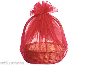 3 Red Sheer Organza Basket Wrap Tassel Ties All Occasion Holiday Gifts Reusable