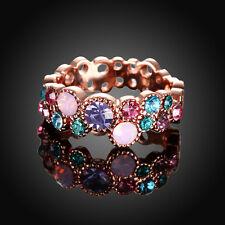 18k Rose Gold GF Lady's Cocktail Multi Color Wedding Engagement Ring Size 6 - 10 US 7 / AU O