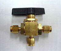 "Mini Brass Ball Valve, 3-Way, 1/8"" Compression Connections, 1500 PSI 1WMW4"