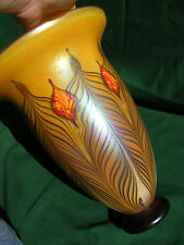 VASE PULLED FEATHER IRIDESCENT ART GLASS SIGNED FIELDS & FIELDS FOOTED 12.5 INCH