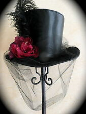 "NEW GOTHIC VAMPIRE BLACK SATIN TOP HAT- FEATHER/FLOWERS-M/L-22.5-23""-7 1/4-7 3/8"